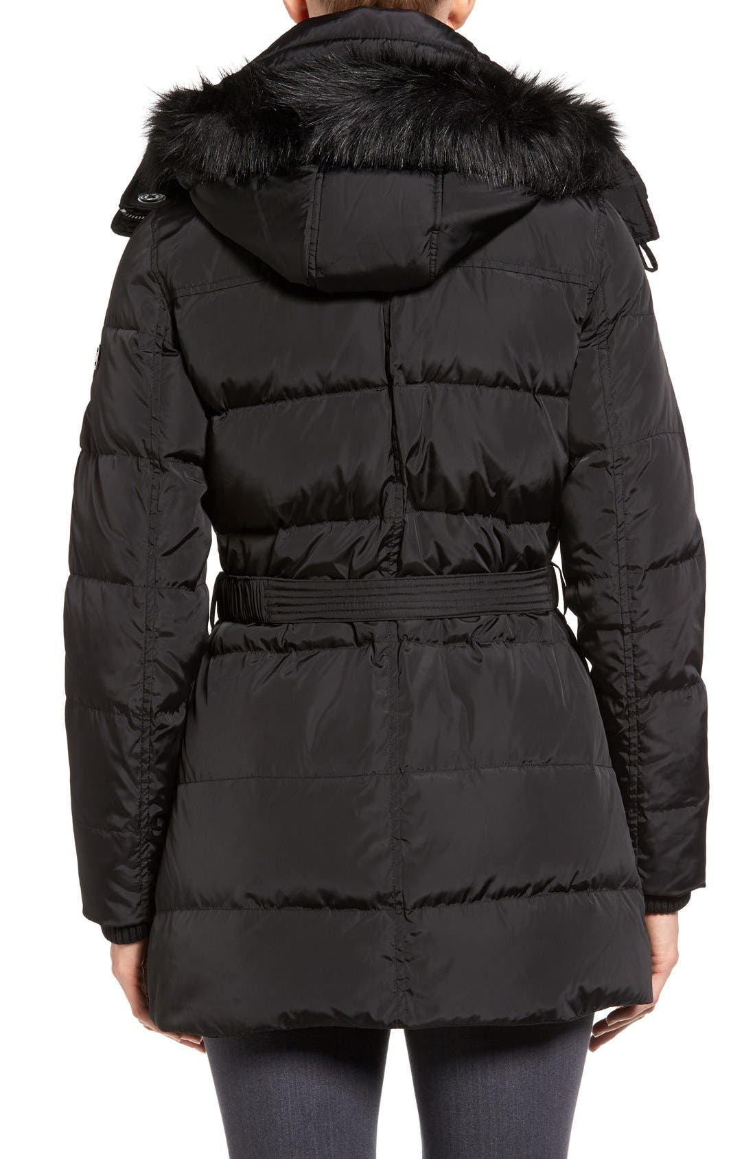 Alternate Image 2  - MICHAEL Michael Kors Faux Fur Trim Belted Down & Feather Fill Parka