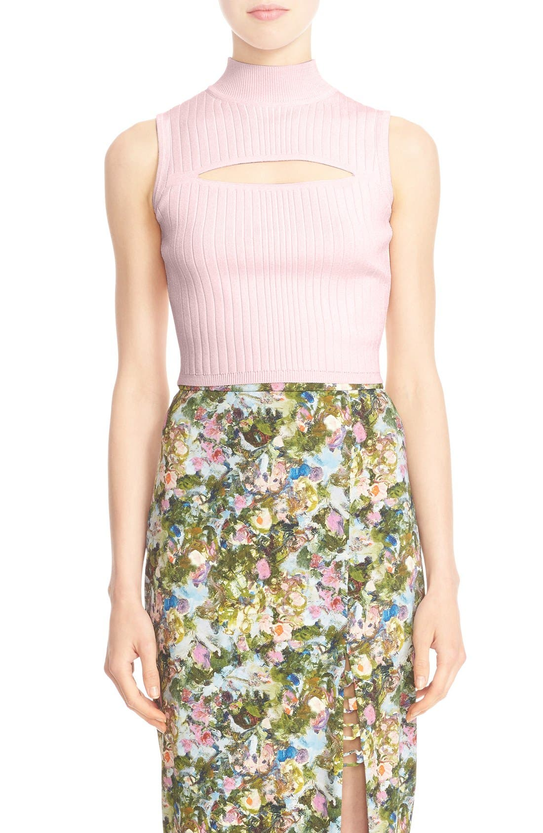 CUSHNIE ET OCHS Cutout Rib Knit Crop Top