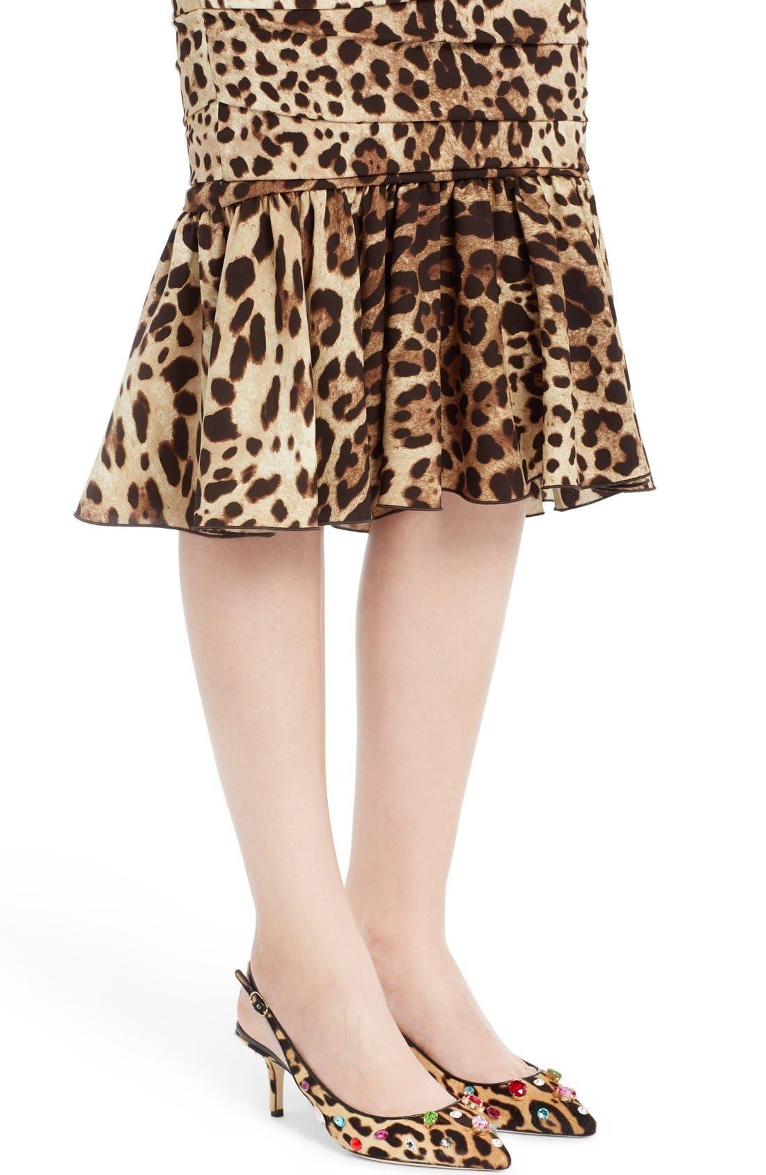 Alternate Image 6  - Dolce&Gabbana Stretch Cady Leopard Print Ruched Dress
