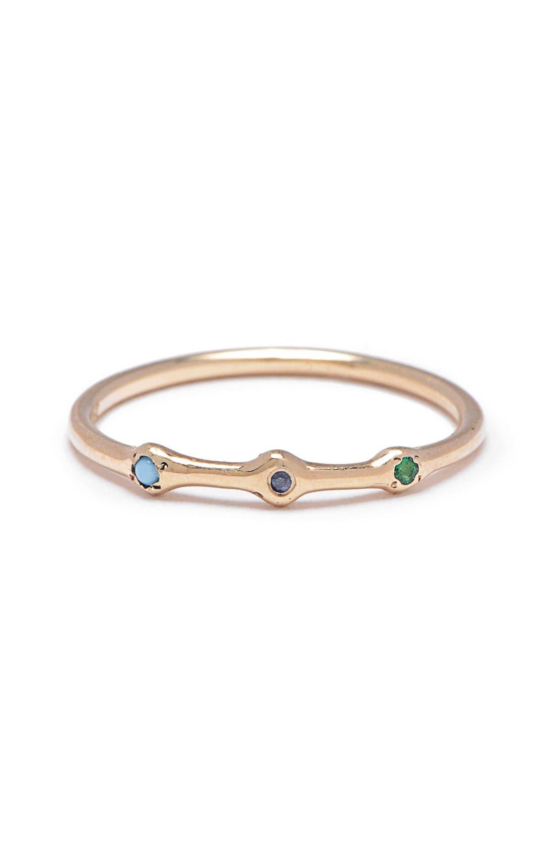 SCOSHA Trio Emerald, Turquoise & Sapphire Ring