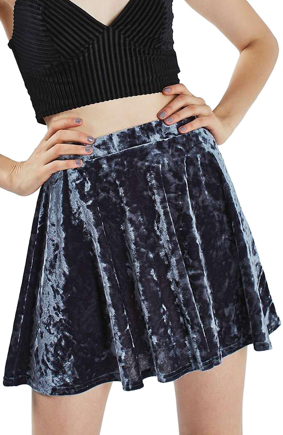 Alternate Image 1 Selected - Topshop Velvet Skater Skirt