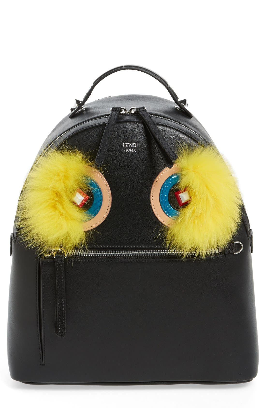 FENDI 'Monster' Leather Backpack with Genuine Fox Fur
