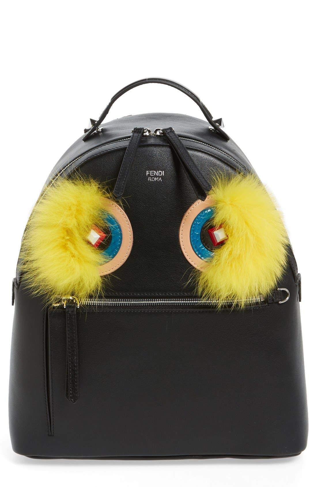 Main Image - Fendi 'Monster' Leather Backpack with Genuine Fox Fur & Snakeskin Trim