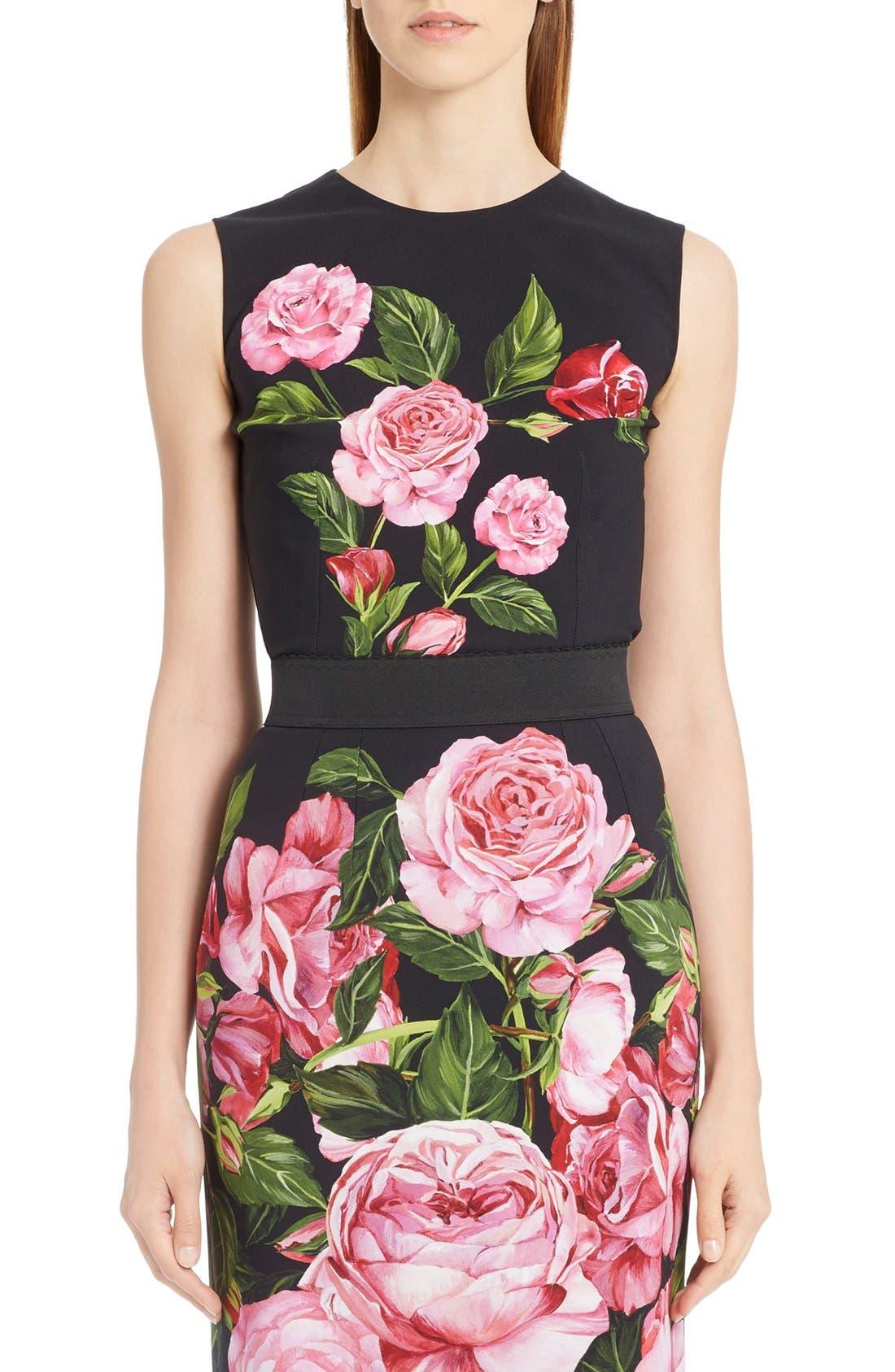 Alternate Image 1 Selected - Dolce&Gabbana Rose Print Cady Top