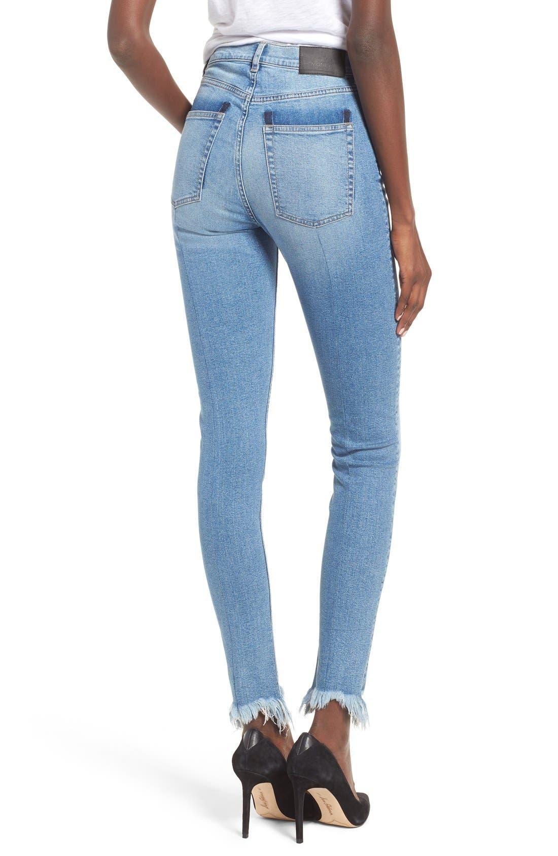 Alternate Image 2  - Cheap Monday Second Frayed Hem Skinny Jeans (Edit Blue)