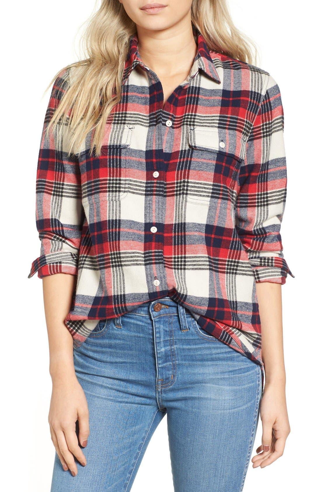 Main Image - Madewell Ex Boyfriend Plaid Flannel Shirt