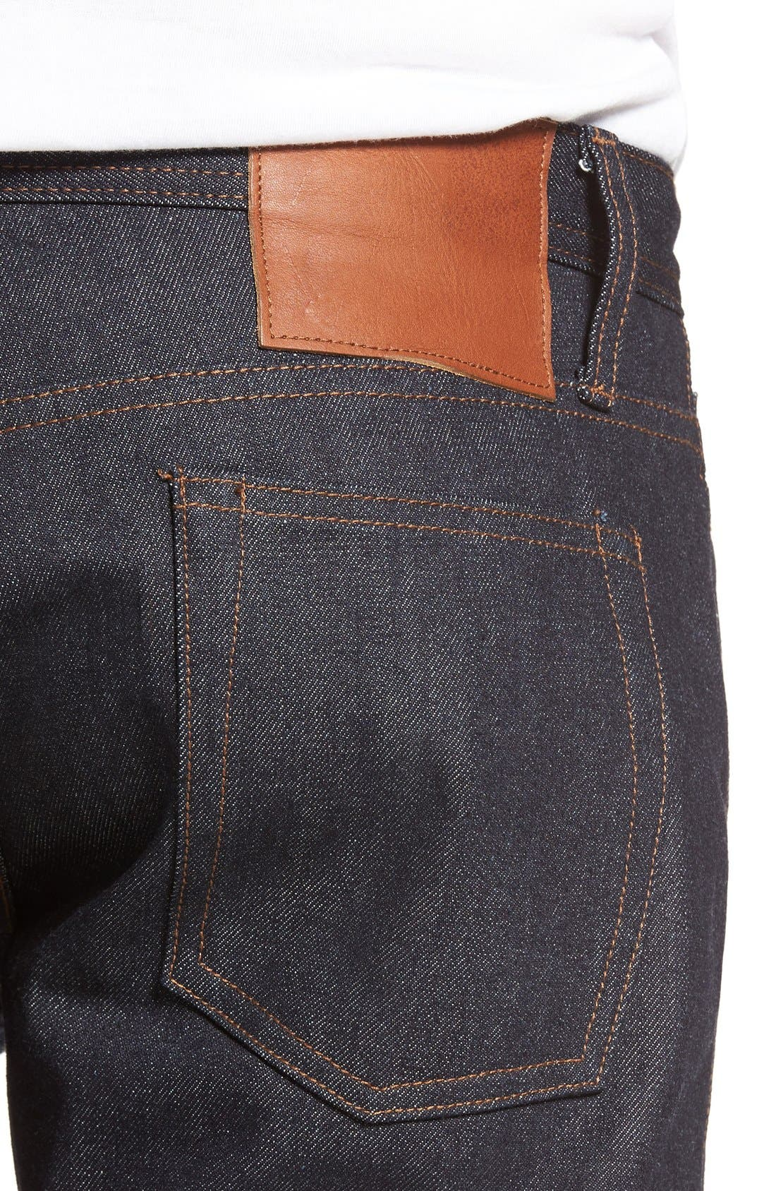 Alternate Image 4  - The Unbranded Brand UB201 Tapered Fit Raw Selvedge Jeans