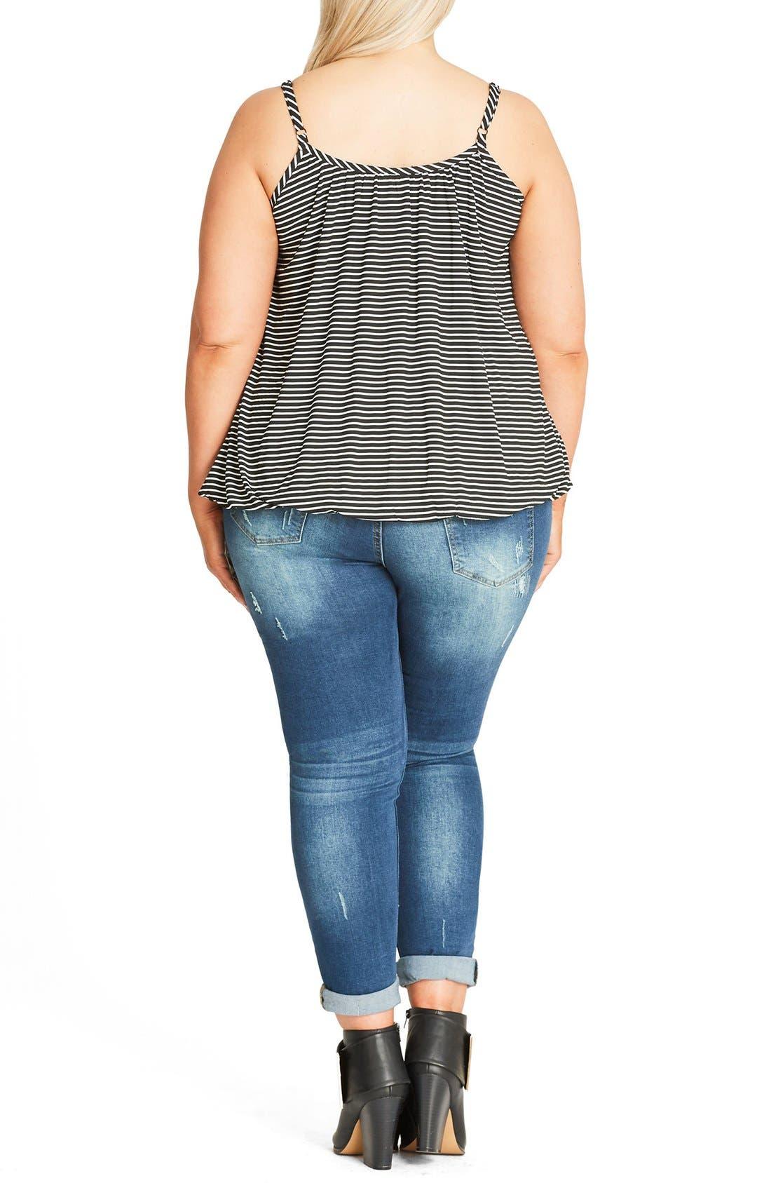Alternate Image 2  - City Chic Stripe Bubble Hem Camisole (Plus Size)