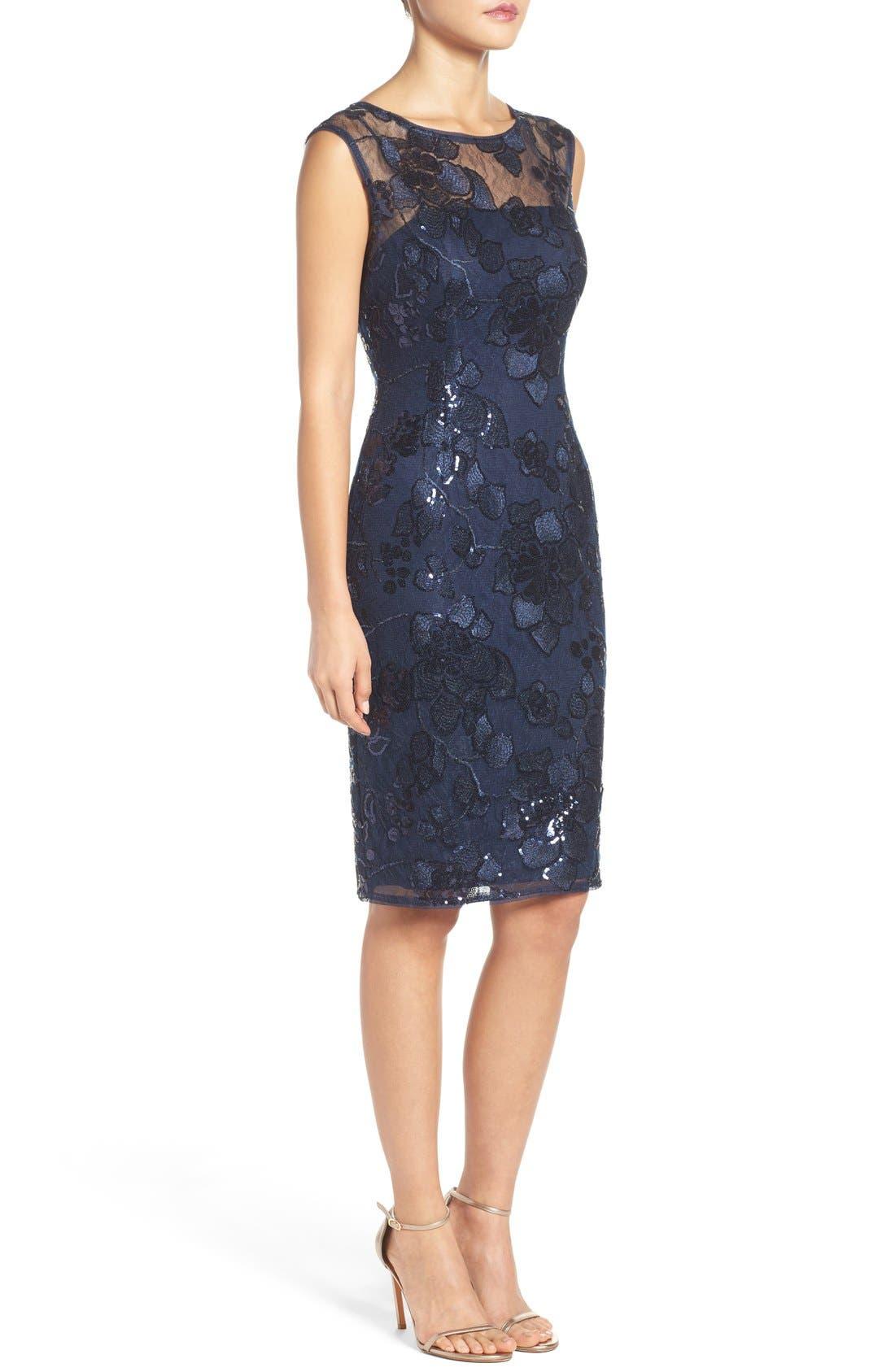 Alternate Image 3  - Adrianna Papell Embellished Lace Sheath Dress
