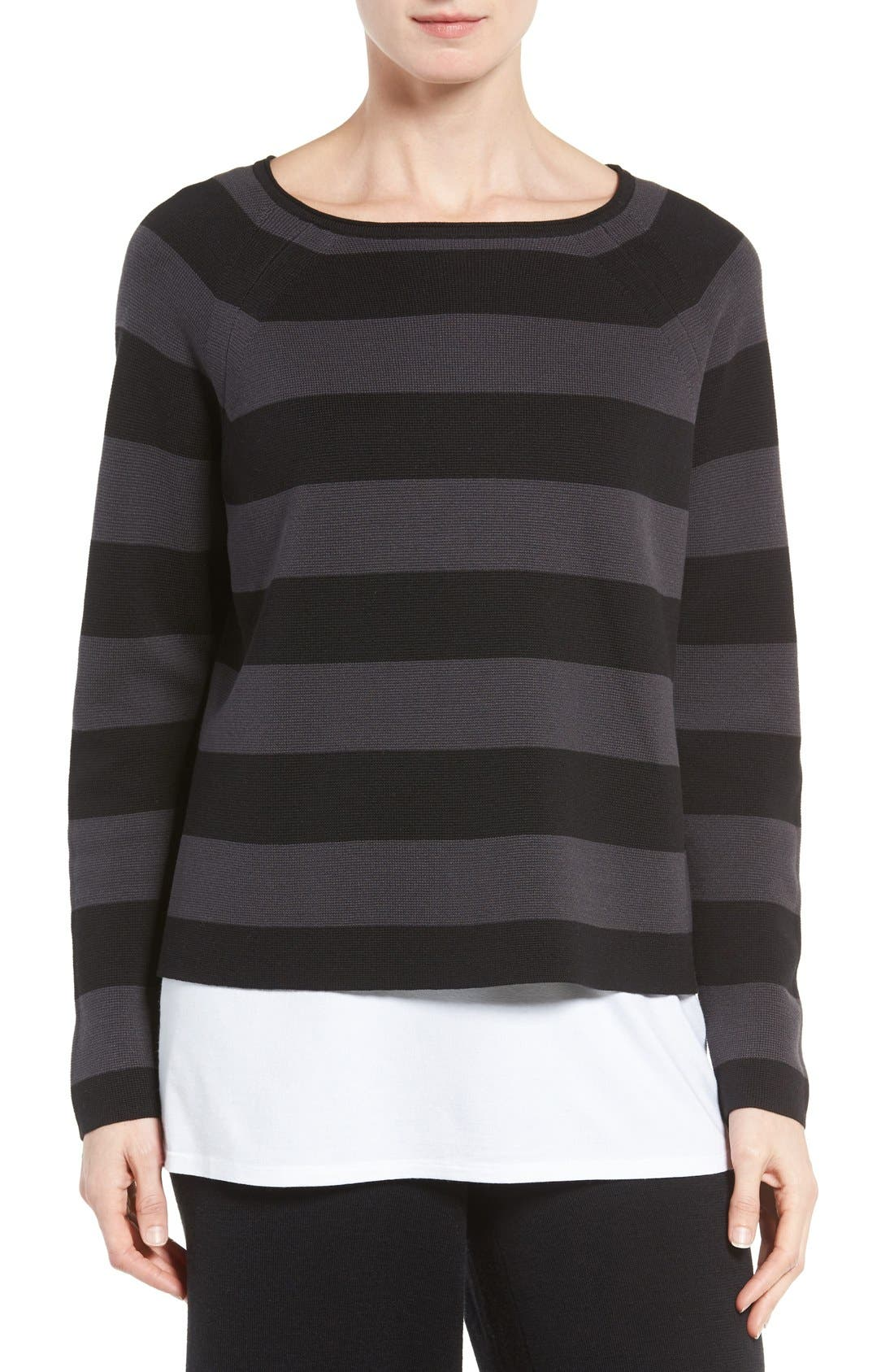 Alternate Image 1 Selected - Eileen Fisher Crop Silk & Organic Cotton Top (Regular & Petite)