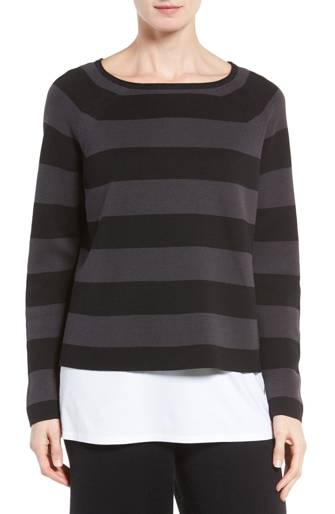 Main Image - Eileen Fisher Crop Silk & Organic Cotton Top (Regular & Petite)