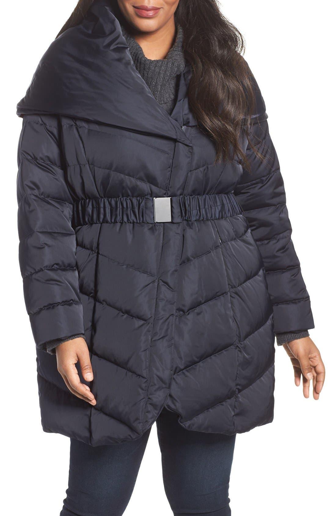 Alternate Image 1 Selected - Tahari Matilda Shawl Collar Quilted Coat (Plus Size)