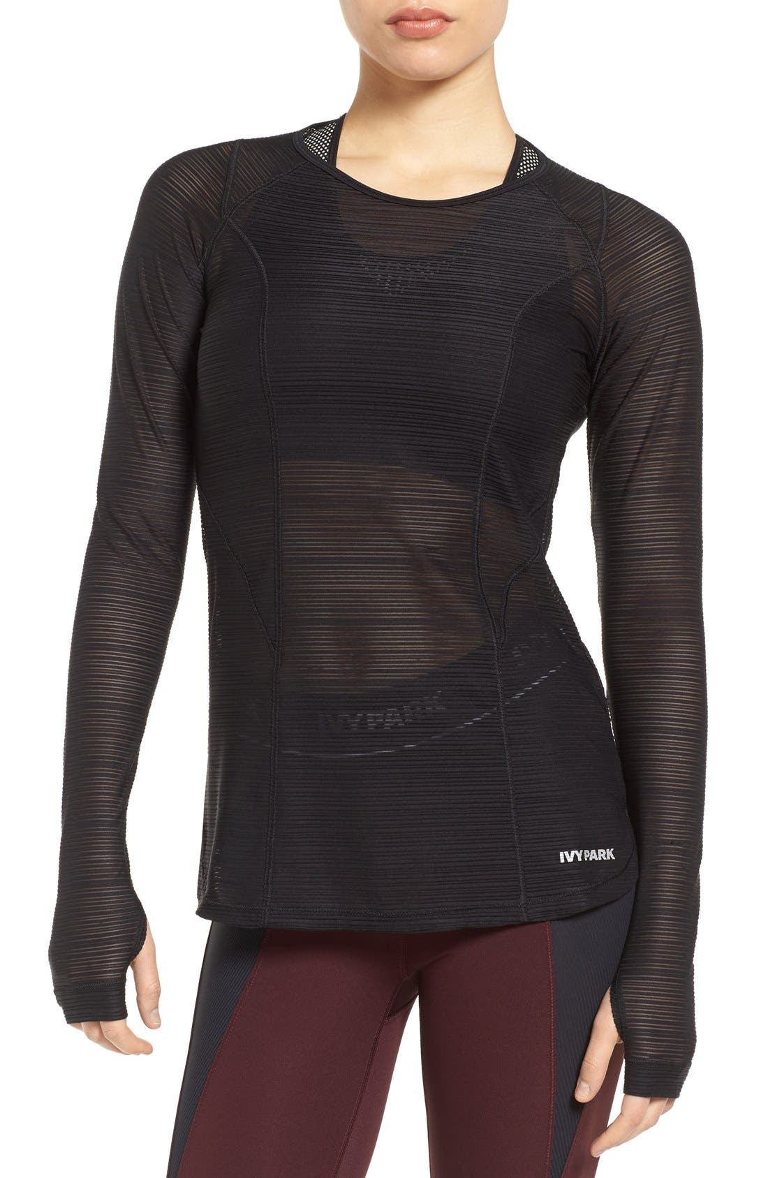 IVY PARK Linear Mesh Performance Top
