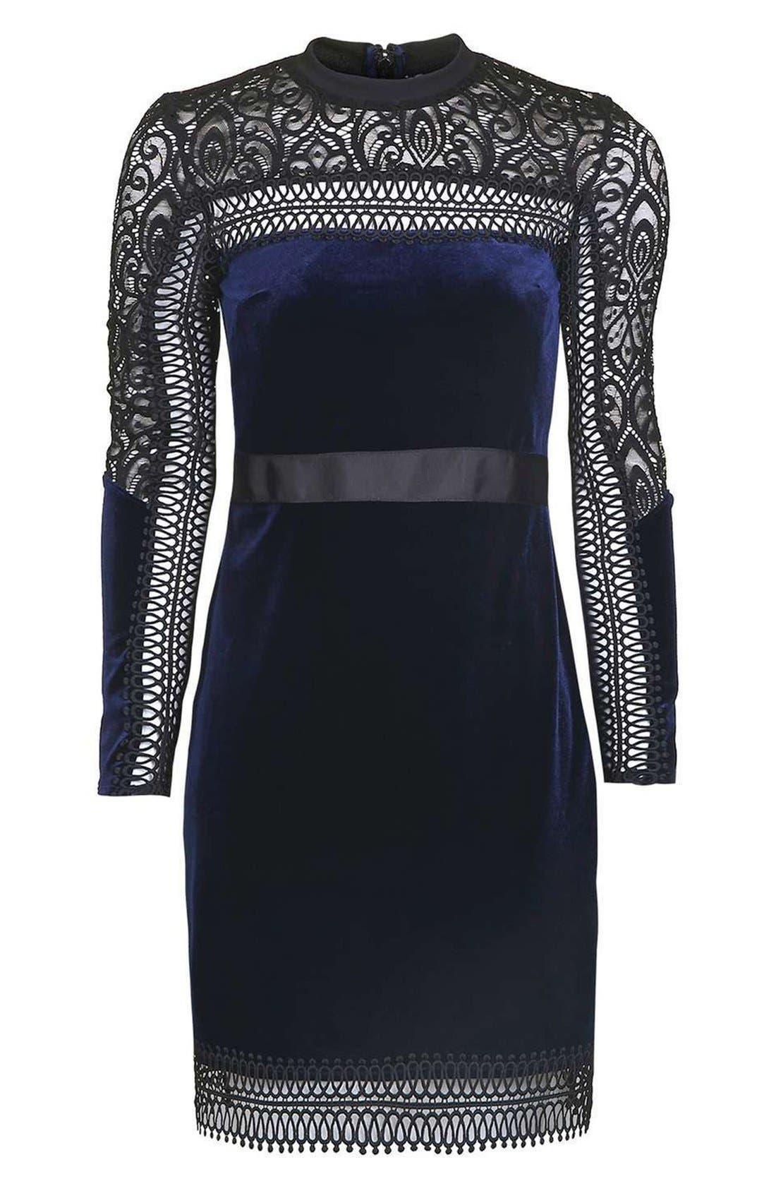 Alternate Image 4  - Topshop Lace & Velvet Dress