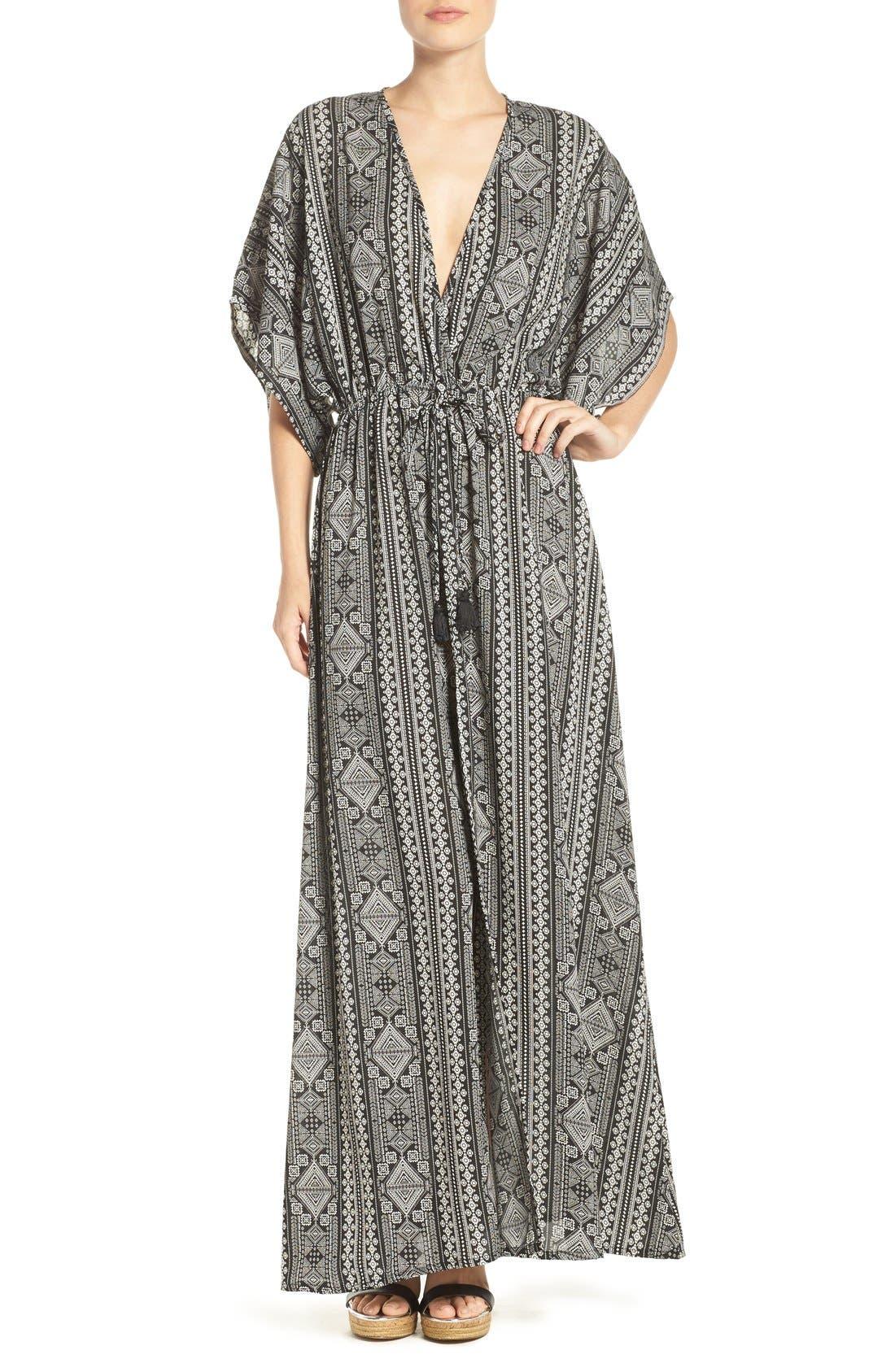 Alternate Image 1 Selected - ElanPrint Woven Cover-Up Caftan Maxi Dress