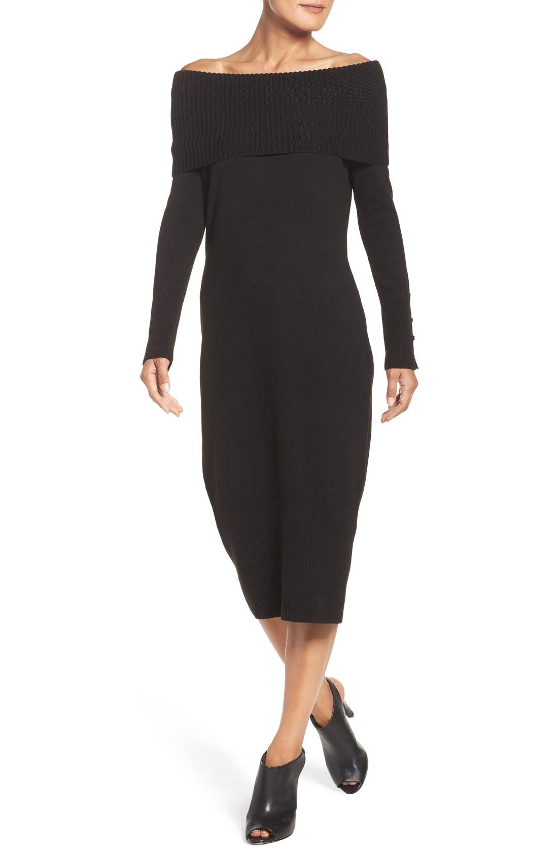 Alternate Image 4  - Eliza J Cowl Neck Sweater Midi Dress
