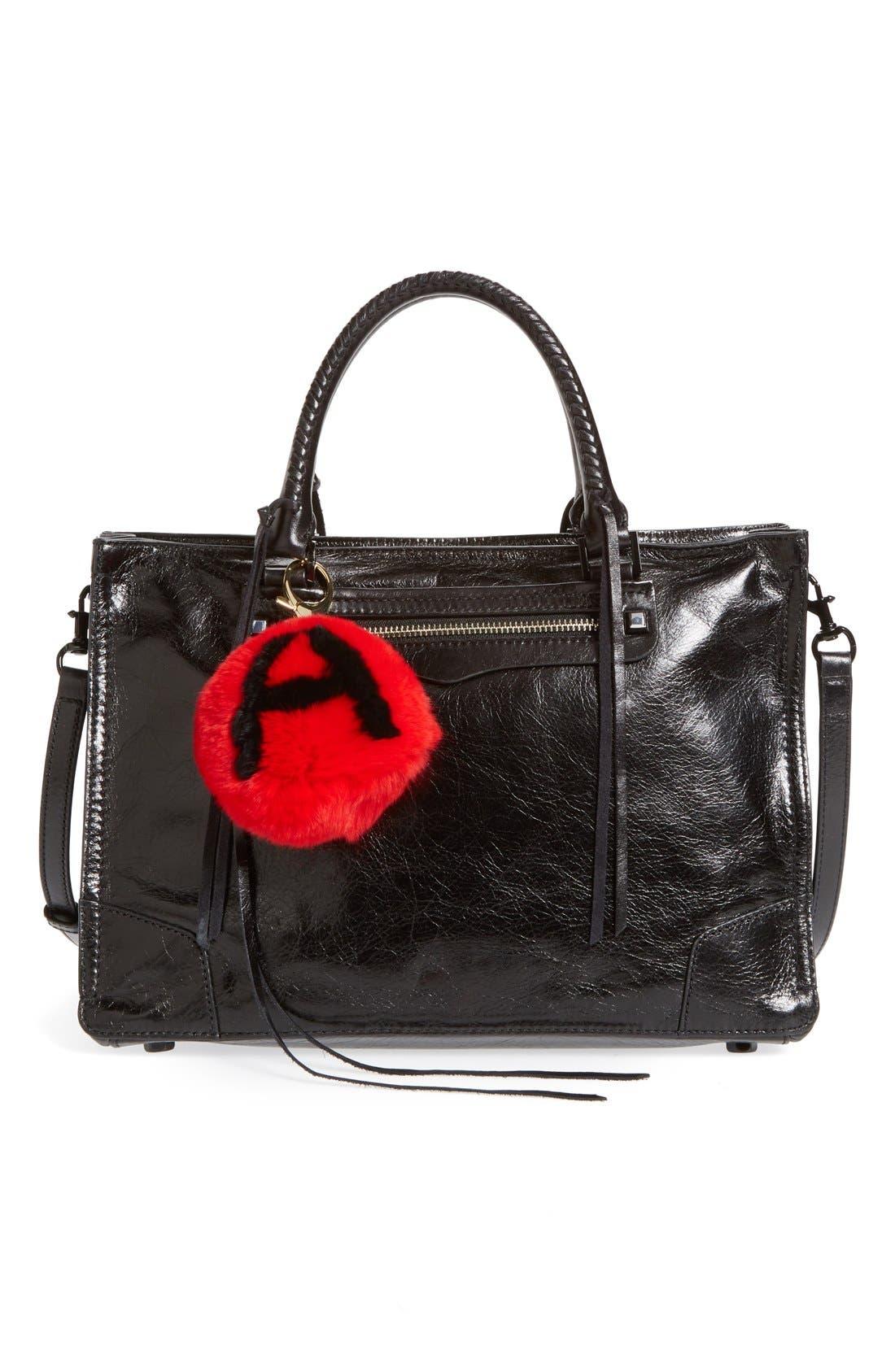 Alternate Image 2  - Rebecca Minkoff Genuine Rabbit Fur Initial Pom Bag Charm