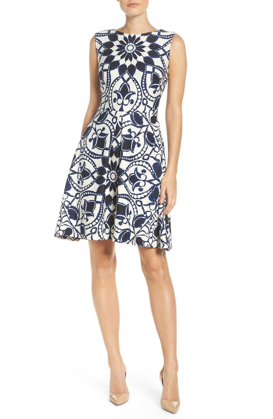 Alternate Image 4  - Taylor Dresses Mirror Print Fit & Flare Dress