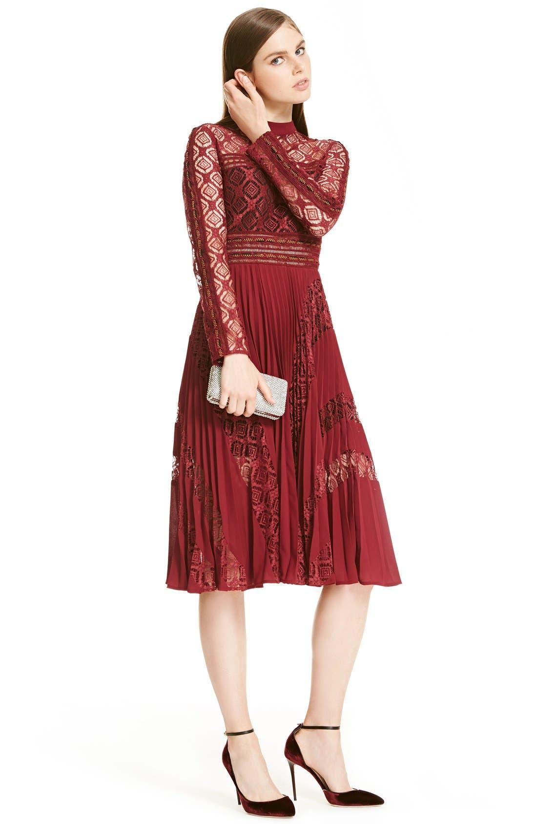 Alternate Image 2  - Self-Portrait Symm Lace & Chiffon Midi Dress
