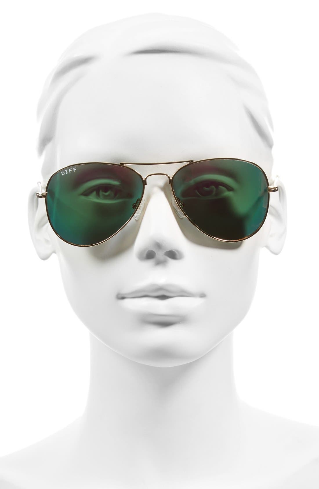Alternate Image 3  - DIFF Cruz 57mm Metal Aviator Sunglasses
