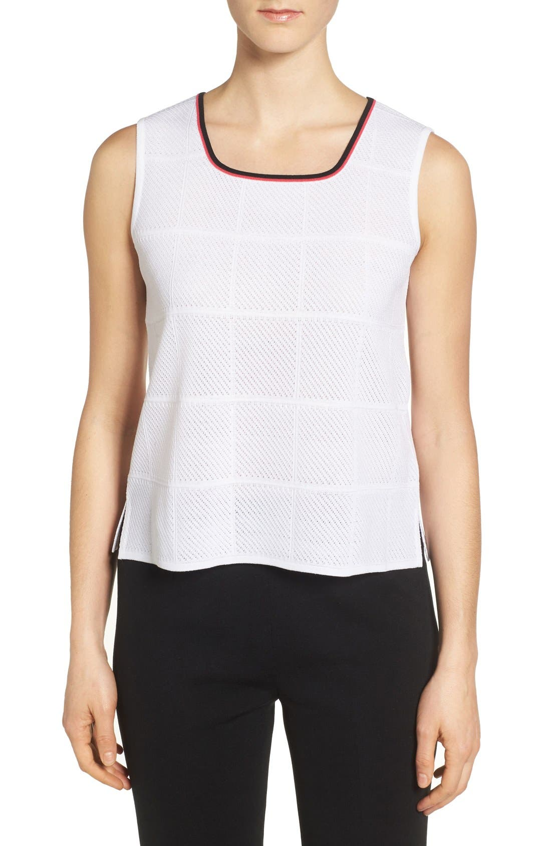 MING WANG Tipped Square Neck Tank