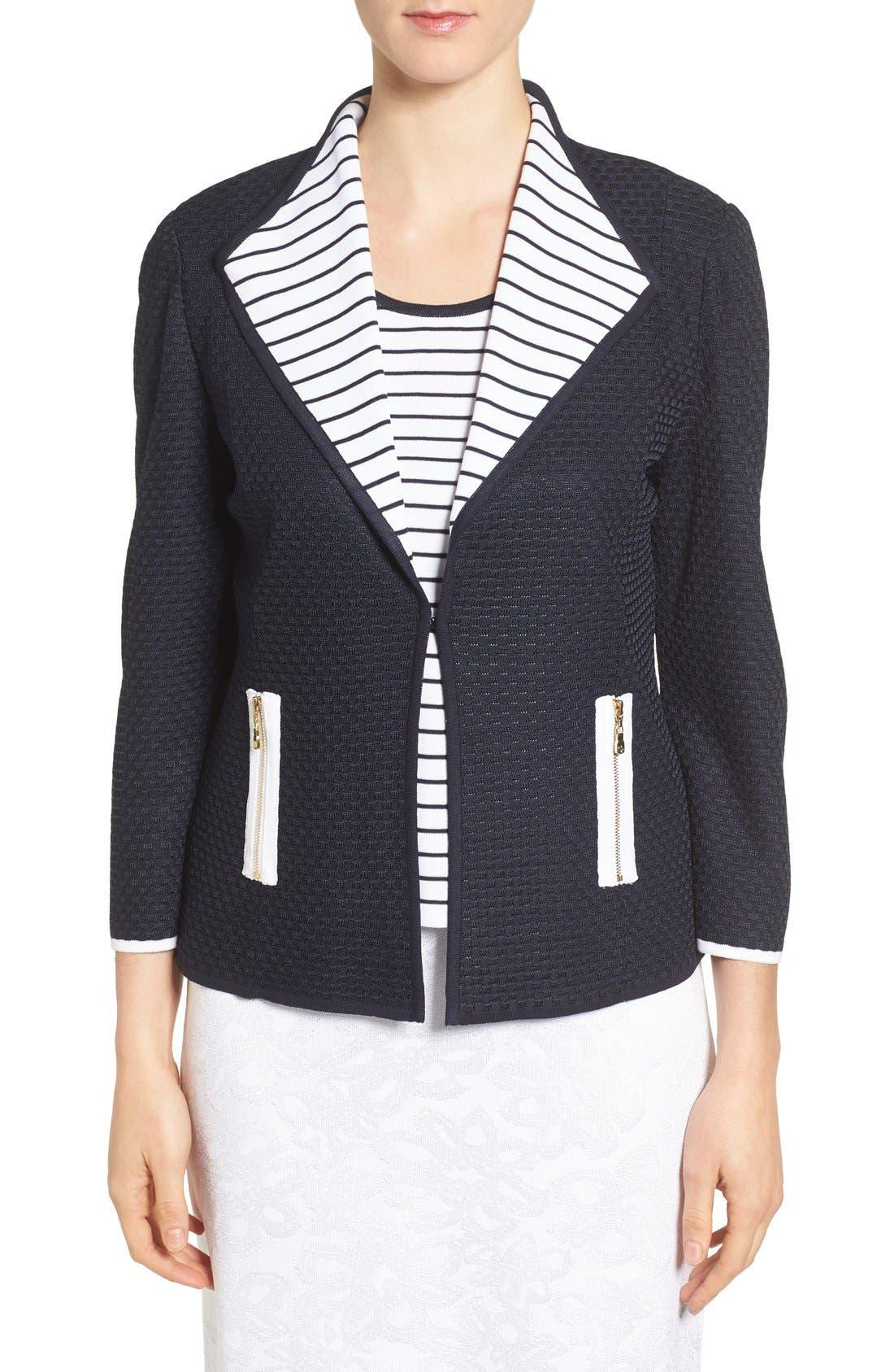 Ming Wang Drape Collar Knit Jacket