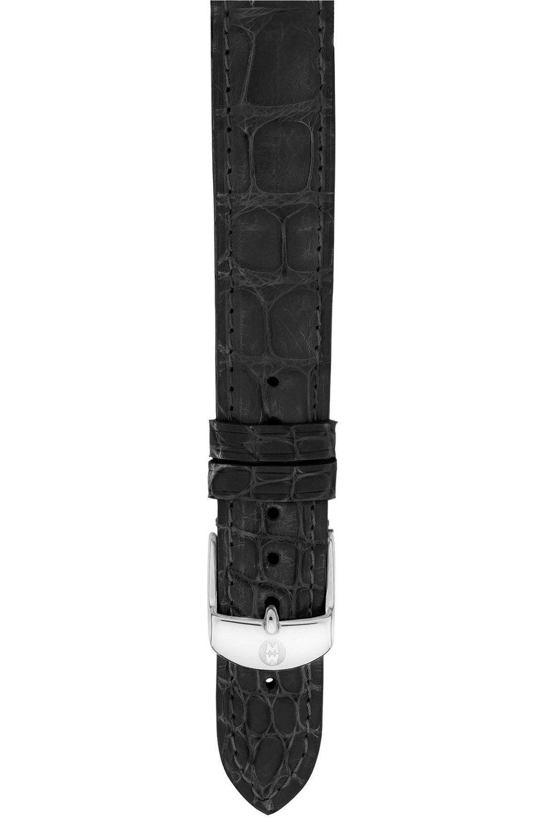 Alternate Image 1 Selected - MICHELE 'Deco 16 Diamond' Watch Case & 16mm Black Alligator Strap