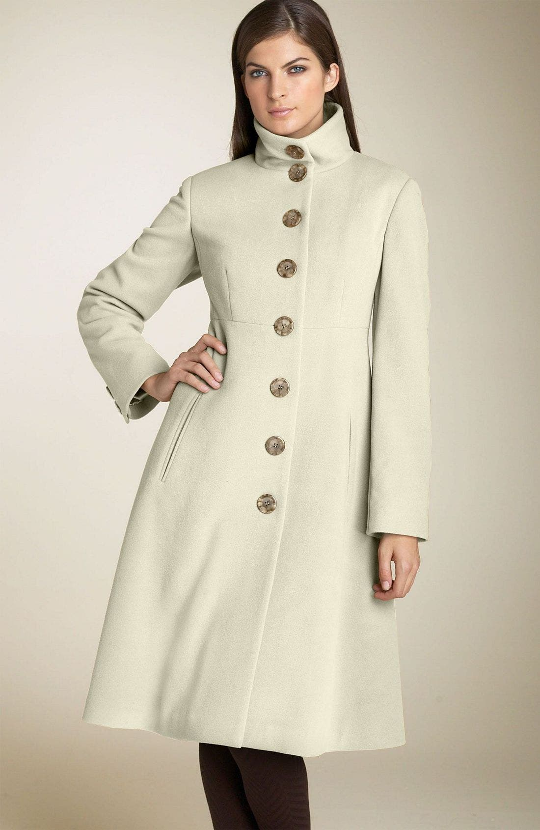 Main Image - Marvin Richards Single Breasted Coat with Back Pleats