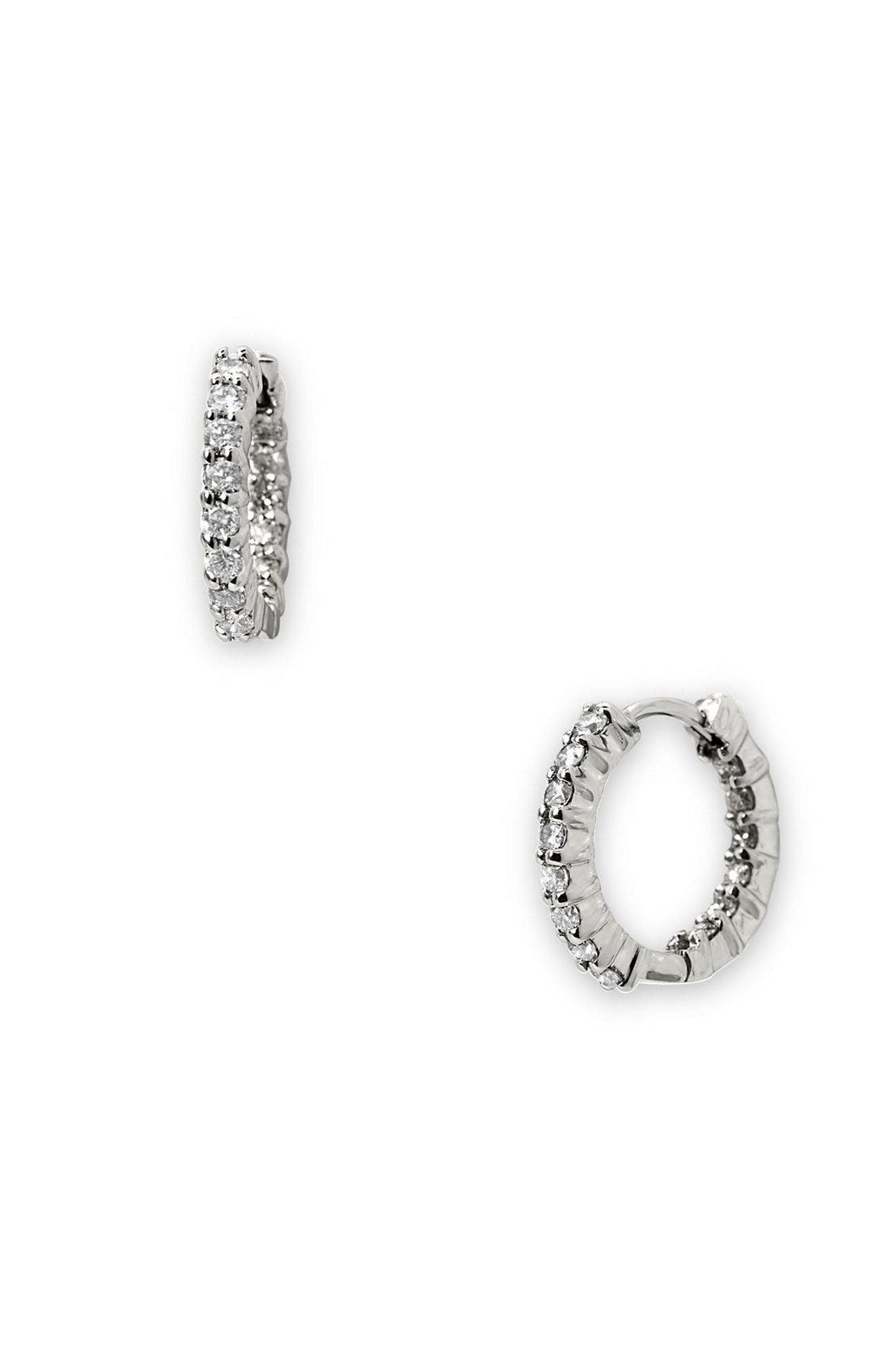 Alternate Image 1 Selected - Roberto Coin 12mm Small Diamond Hoop Earrings