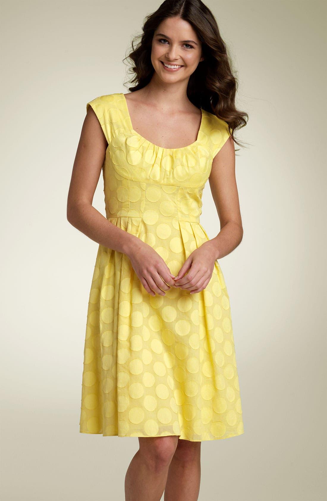 Main Image - Calvin Klein Ruched Dot Dress