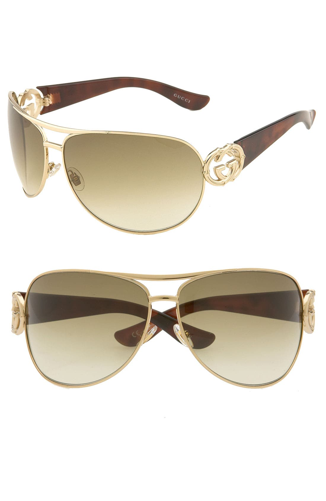 Alternate Image 1 Selected - Gucci Bamboo Logo Metal Aviator Sunglasses