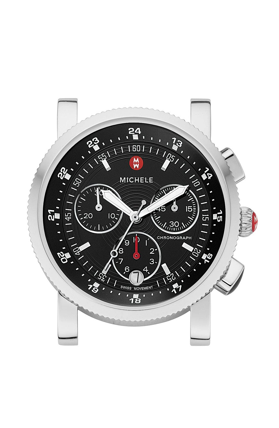 Alternate Image 1 Selected - MICHELE 'Sport Sail' Black Dial Watch Case, 38mm