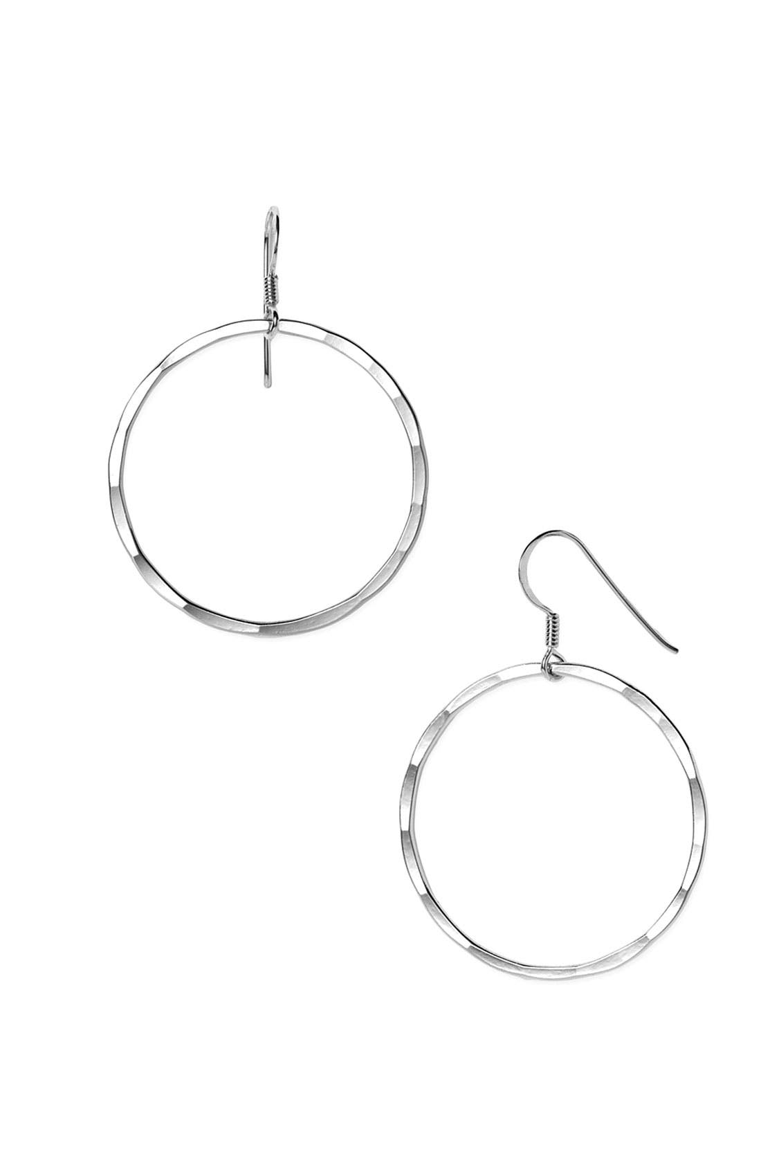 Alternate Image 1 Selected - Argento Vivo Medium Hammered Hoop Earrings