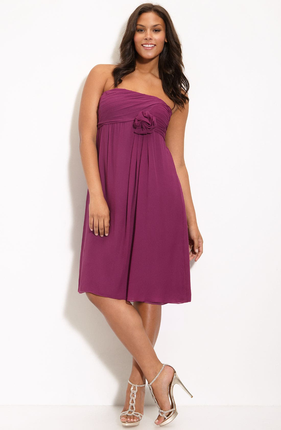 Alternate Image 1 Selected - Suzi Chin for Maggy Boutique Ruched Bodice Strapless Dress (Plus)