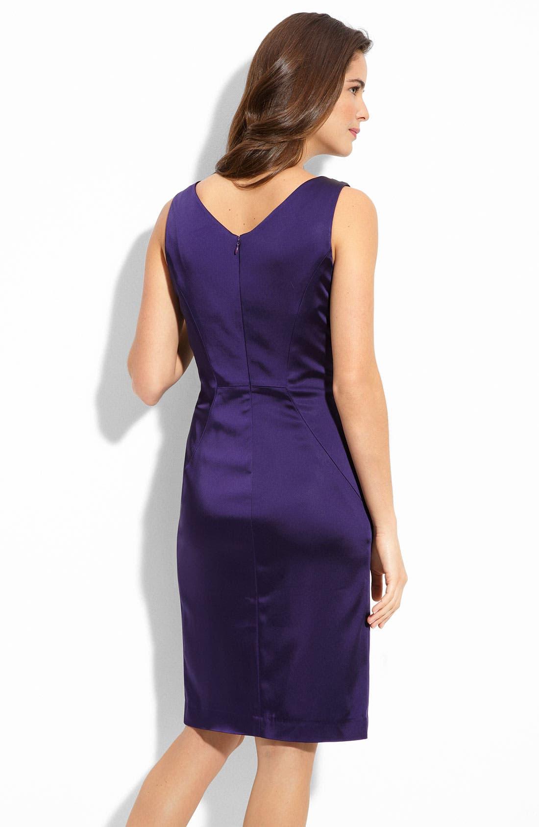 Alternate Image 2  - Calvin Klein Gathered Stretch Satin Sheath Dress