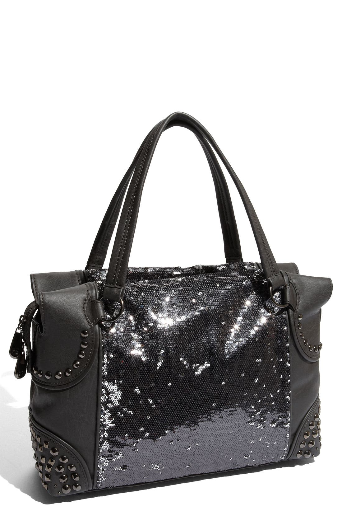Main Image - BCBGMAXAZRIA Reversible Sequin Faux Leather Satchel