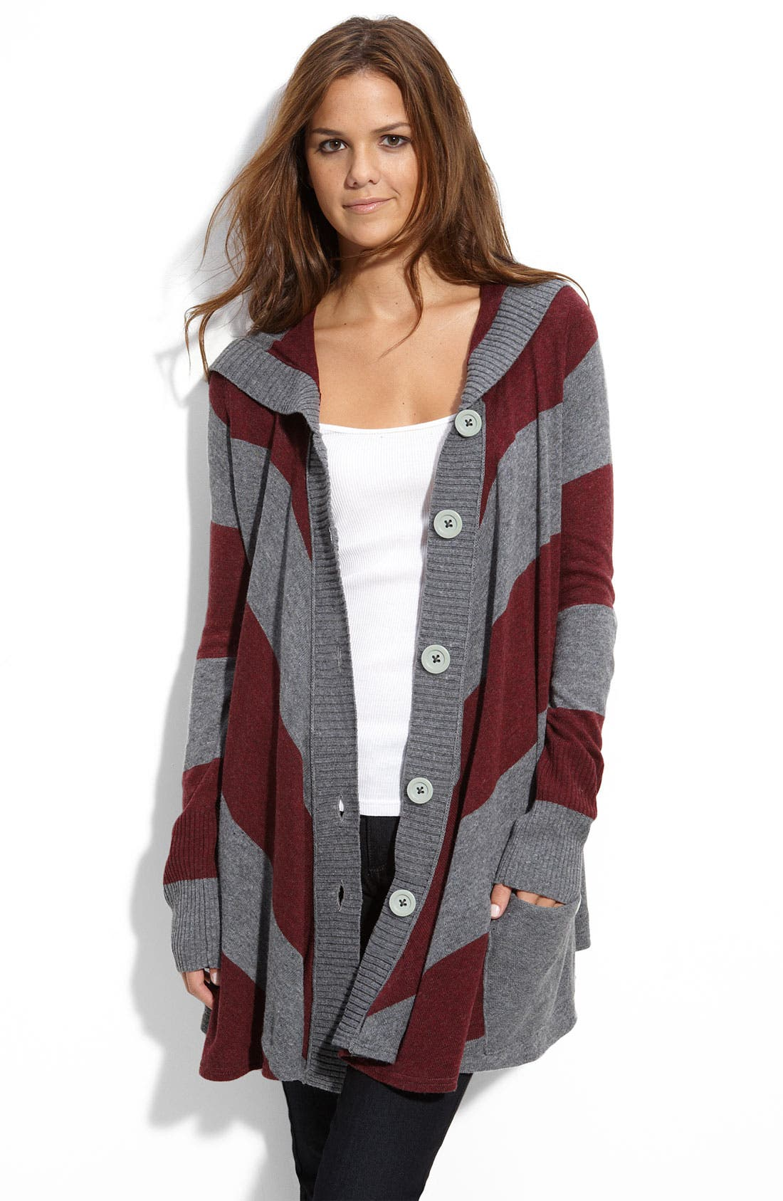 Alternate Image 1 Selected - Free People 'Northshore' Stripe Hooded Cardigan