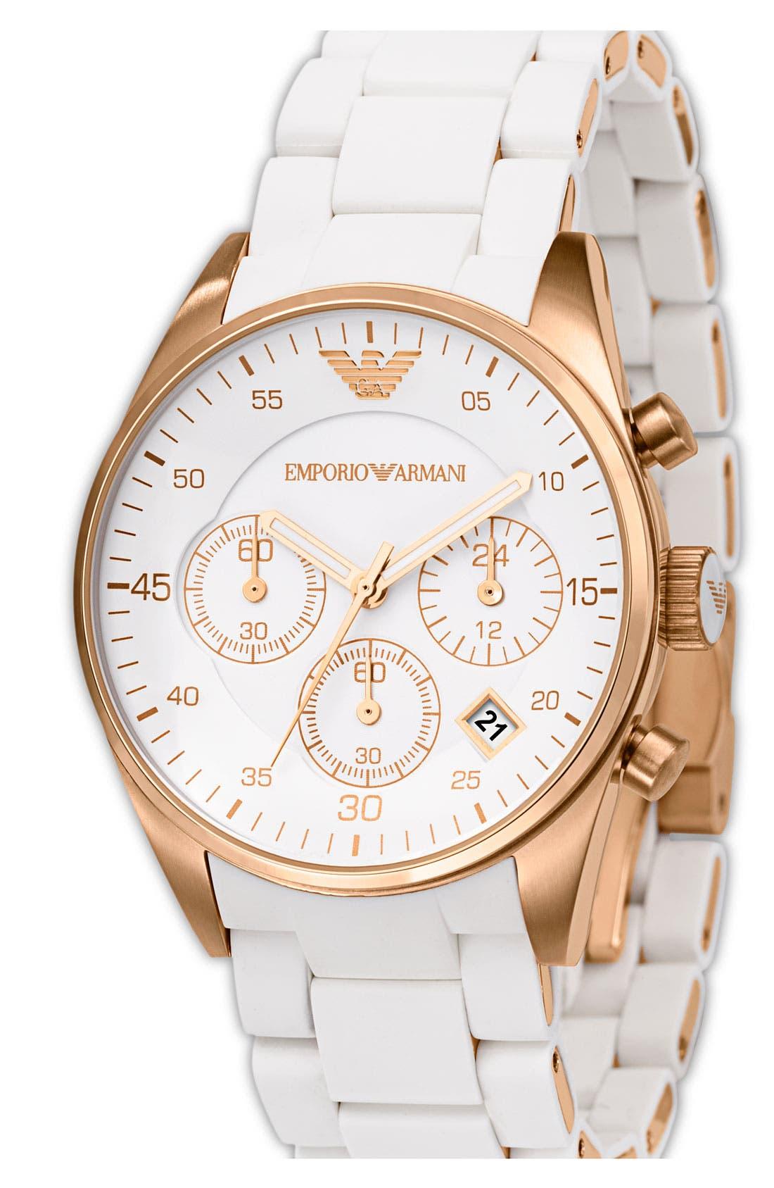 Main Image - Emporio Armani Ladies' Round Stainless Steel Chronograph Watch, 38mm