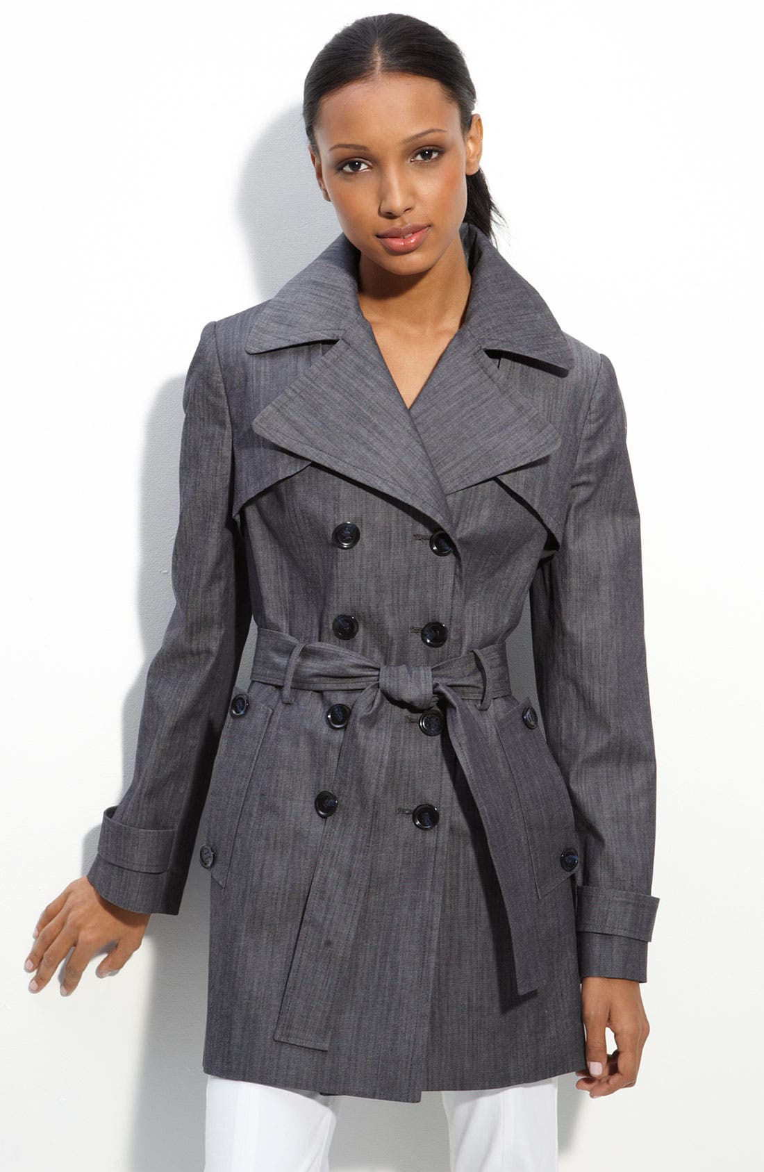Alternate Image 1 Selected - Calvin Klein Belted Poplin Trench