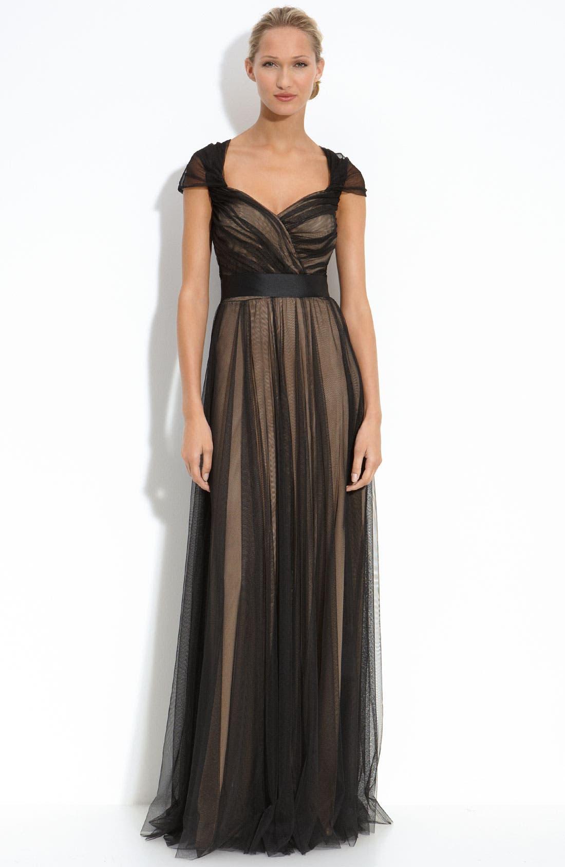 Alternate Image 1 Selected - Tadashi Shoji Tulle Overlay Gown