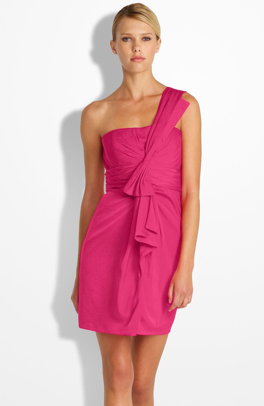 Alternate Image 1 Selected - BCBGMAXAZRIA Drape Front One-Shoulder Satin Dress