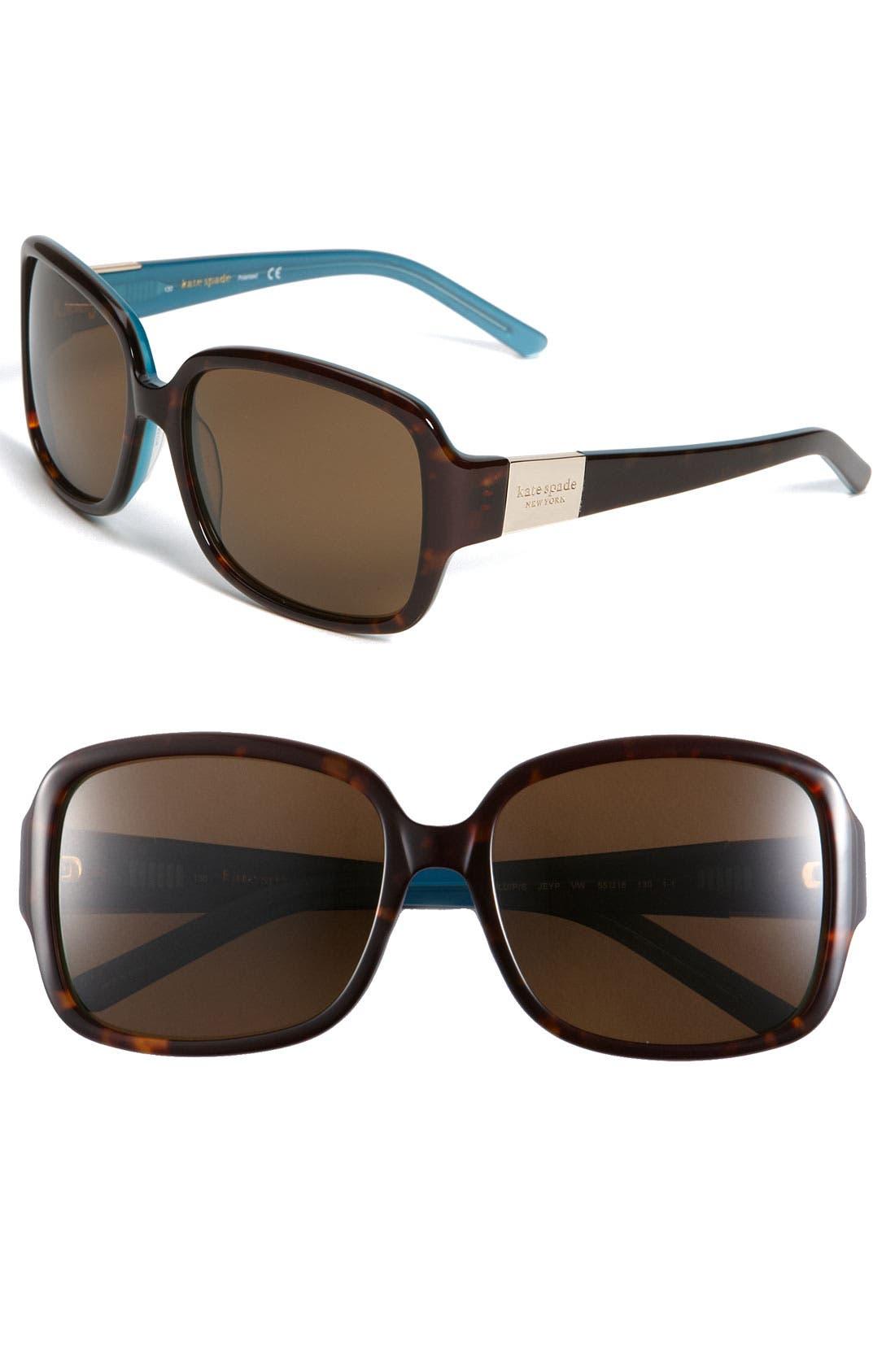 Main Image - kate spade new york 'lulu/p/s' 55mm polarized square sunglasses