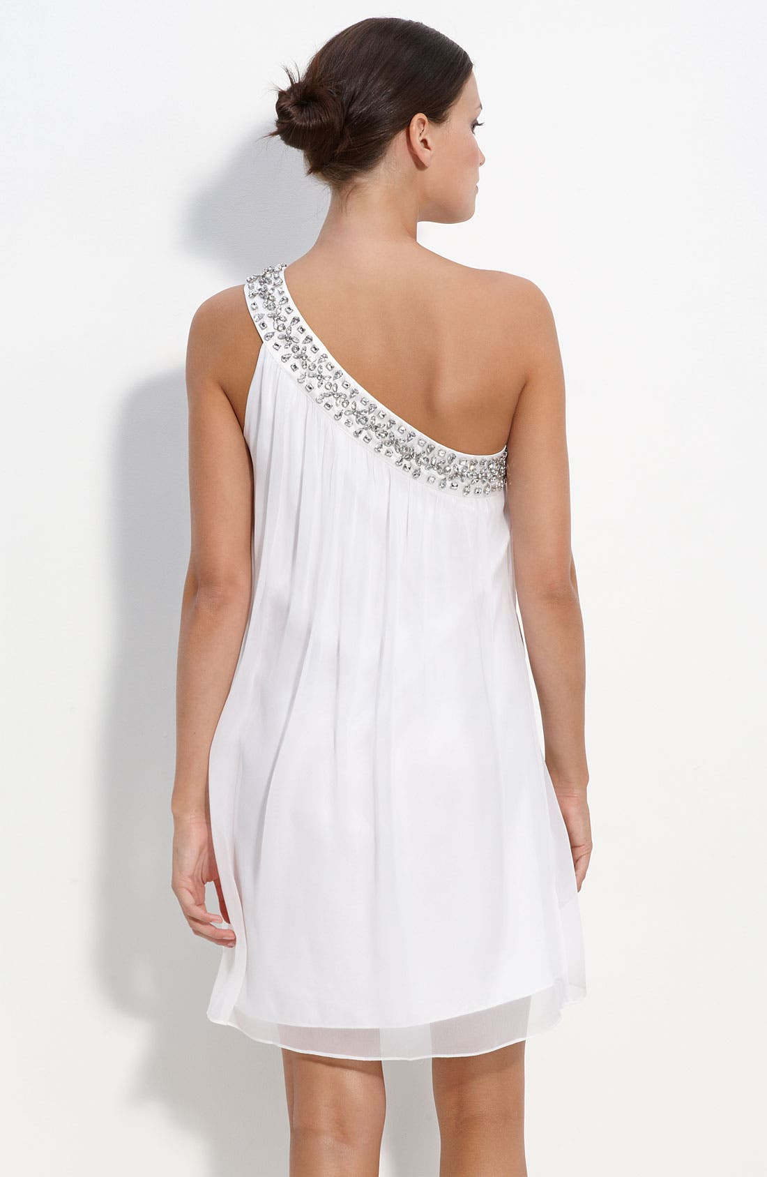 Alternate Image 2  - Calvin Klein One Shoulder Chiffon Dress with Rhinestone Trim