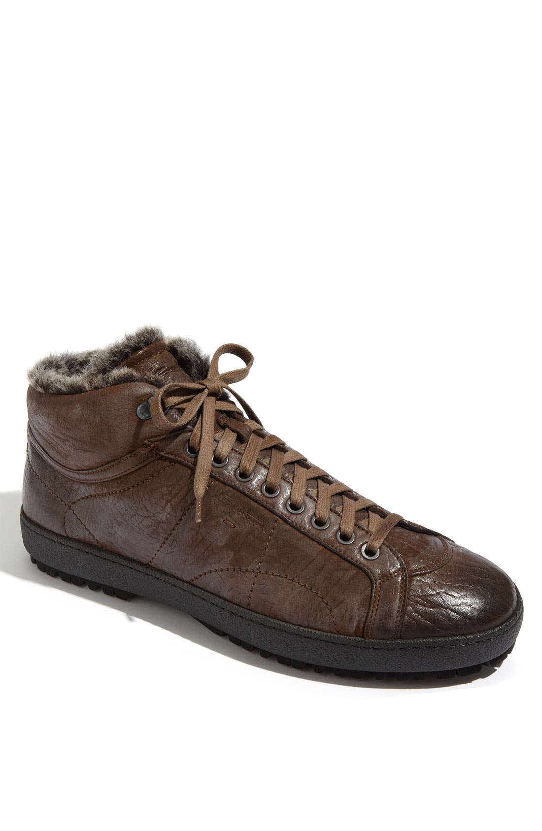 Main Image - Santoni 'Dorado' Shearling Trimmed Sneaker