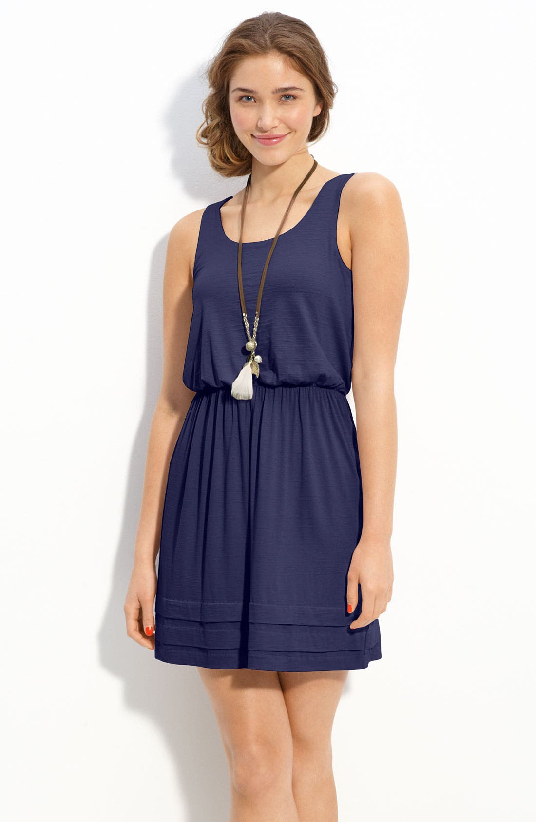 Alternate Image 1 Selected - Lush Pleated Hem Slub Knit Tank Dress (Juniors)