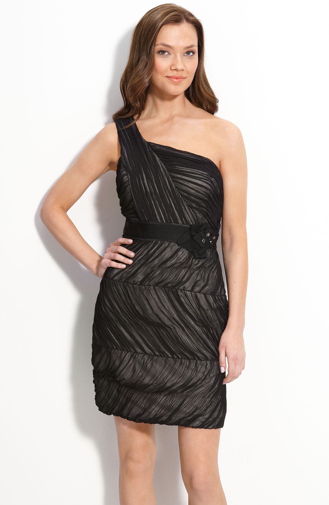 Alternate Image 1 Selected - Max & Cleo One Shoulder Ruched Chiffon Dress