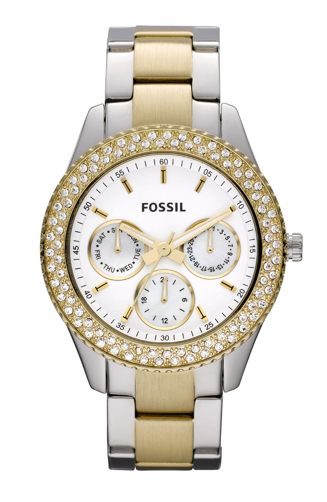 Main Image - Fossil Multifunction Crystal Bezel Watch, 37mm