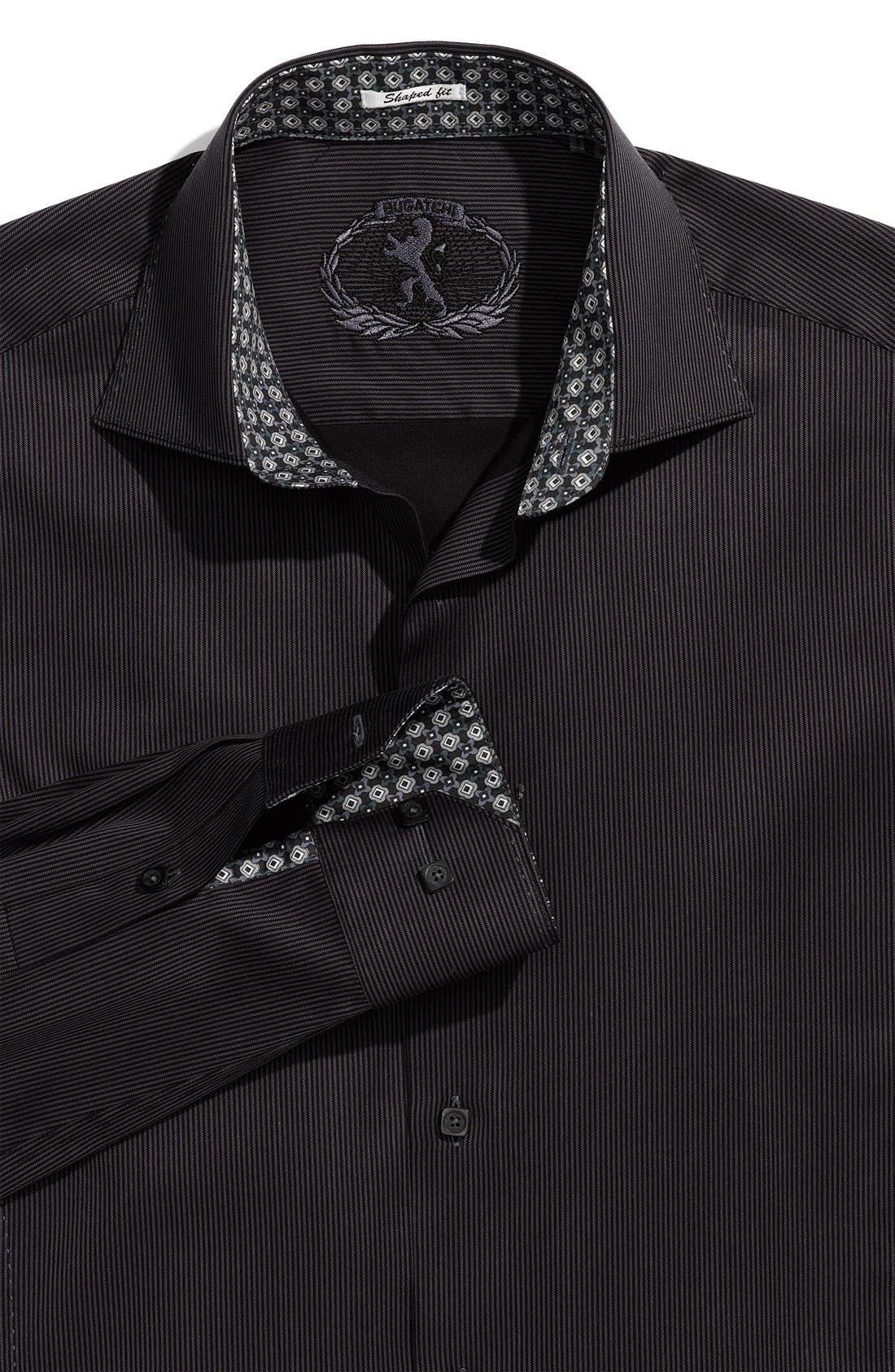 Main Image - Bugatchi Uomo 'Shaped Fit' Woven Piqué Sport Shirt