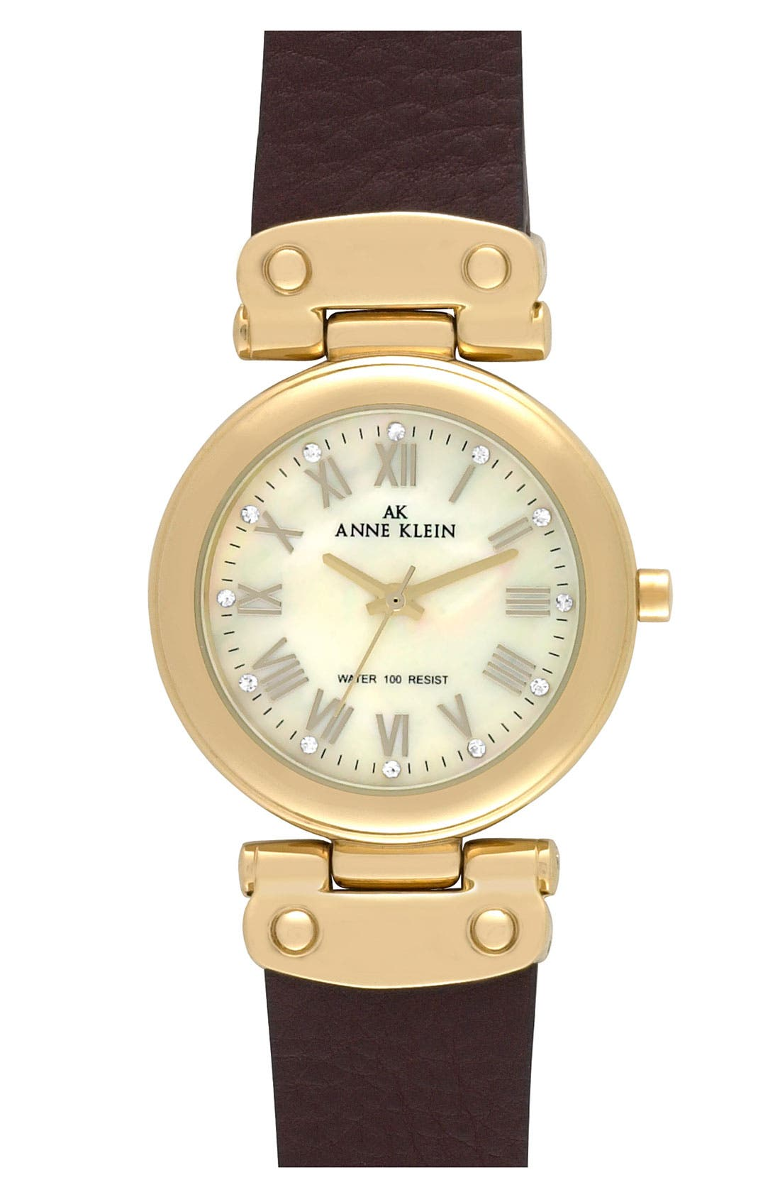 Alternate Image 1 Selected - Anne Klein Leather Strap Round Watch