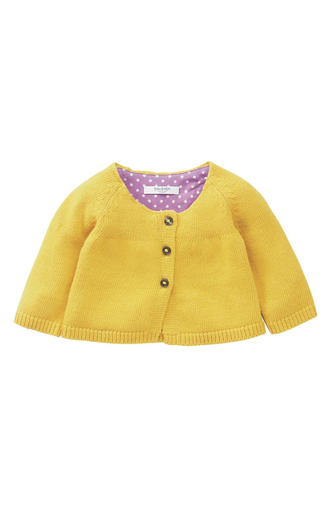 Alternate Image 1 Selected - Mini Boden Babydoll Cardigan (Infant)